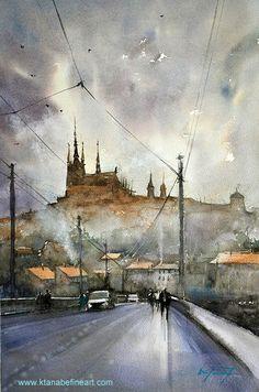 """""""Prague, Czech Republic II"""" watercolor by Keiko Tanabe wwwl.ktanabefineart.com  Join me in Libin, Belgium for my watercolor workshop: 11-15 August 2014"""