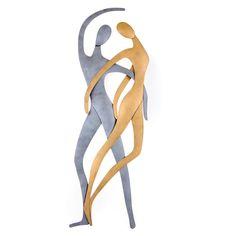 """Dancing Couple Figurines - Modern Handmade Metal Wall Art Decor - Silver & Gold, 66cm (25.9"""") Metal Wall Art Decor, Metal Artwork, Dancing Couple, Handmade Ornaments, Love Art, Silver Color, Anniversary Gifts, Sculpture, Modern"""
