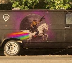 Viking wearing High-tops and carrying an AK while riding a Unicorn that is pooping a Rainbow in front of the Moon.