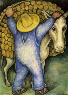 Man Loading Donkey With Firewood (1938) by Diego Rivera