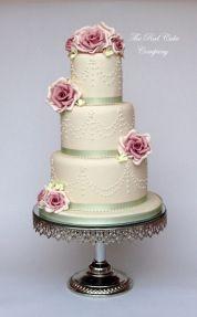 Dusky Pink Rose Wedding  Cake