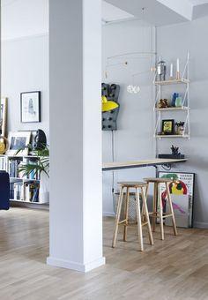 Lejlighed i København med industrielle betonsøjler