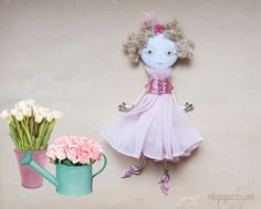 Spring Princess Art Brooch Doll mixed media collage by miopupazzo,