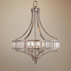 Soft Silver Wide Crystal Chandelier - from Lamps Plus Entryway Lighting, Dining Room Lighting, Chandelier Lighting, Bathroom Lighting, Entryway Chandelier, Rustic Chandelier, Dining Nook, Transitional Chandeliers, Transitional Lighting