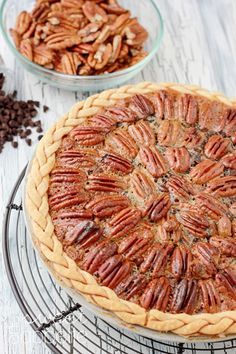 Chocolate Pecan Pie. Holy canoli as if pecan pie wasn't already sinful enough.