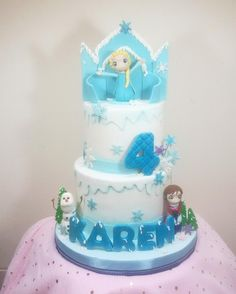 Frozen: Chibi Style - cake by astrid