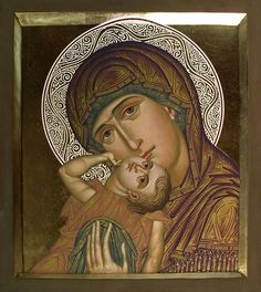 Panagia and the Christ Child Religious Images, Religious Icons, Religious Art, Byzantine Icons, Byzantine Art, Greek Icons, Jesus Christus, Angel Statues, Madonna And Child