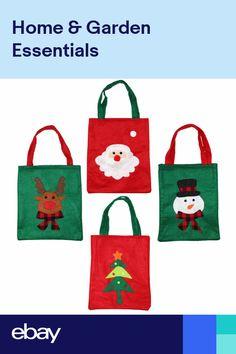 4 Mixed Christmas Xmas Soft Felt Present Gift Bags - Santa Rudolf Snowman Tree Christmas Clay, Christmas Gift Bags, Xmas, Small Gift Bags, Small Gifts, Christmas Material, Wine Bottle Gift, Snowman Tree, Felt Gifts