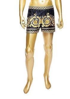 Versace Baroque Gold Crown Animal Print 100% Silk Boxers size 6 $495