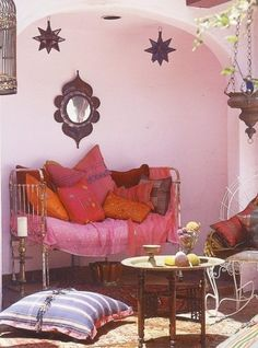 Vintage Bohemian home - Moroccan Style, Home Accessories and Materials for Moroccan Interior Design. Moroccan Design, Moroccan Decor, Moroccan Style, Moroccan Room, Indian Style, Moroccan Lanterns, Moroccan Mirror, Red Indian, Patio Design
