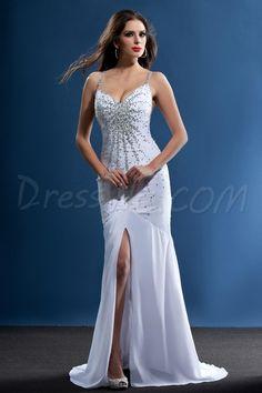 Dresswe.comサプライ品華やかなタリーンのイブニングドレス トランペット/マーメイド スパゲッティストラップ ビーズ 床長  ビーチウェディングドレス