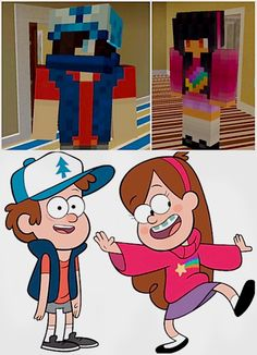 Zane and Aphmau cosplaying as Dipper and Mabel