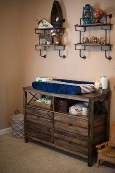 Oakley's Room - baby boy outdoor nursery theme. dresser came from target online. Dresser Brand: perdana mudhut dresser - http://progres-shop.com/oakleys-room/
