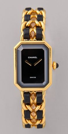 gold and black chanel watch