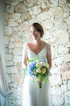 #bridalbouquet #hydrangeas #bluehydrangeas #peachroses #wedding #kefalonia #peonies #gardenroses Blue Hydrangea, Hydrangeas, Peonies, Bouquet, Pastel, Bridal, Princess, Wedding Dresses, Flowers