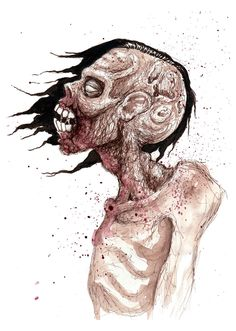 "Limited Edition Zombie Sketch Art Print- ""Profile"". $10.00, via Etsy."