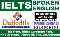 BEST IELTS Coaching in jalandhar,Spoken English Course in Jalandhar.Free Demo Class.Daffodils English AcademySCO-2425-26,Sec-22C 2nd Floor 9216509238