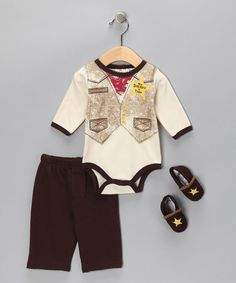 Take a look at this Brown Cowboy Bodysuit Set by Baby Essentials on #zulily today!