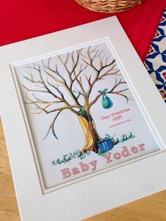 Baby Bundle Shower Thumbprint Tree Print by TailoredBrushstrokes