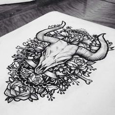 Sketches Of Tattoos by Masha Kovtun Bulls are a symbol of strength, roses are a symbol of beauty. Masha Kovtun has bought these together to form a beautifully studded bull's skull on a canvas which looks amazing.