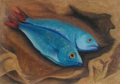 Fishes done in dry pastel