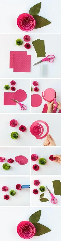 Easy, cute Paper Flower diy. Maybe make a string of them to hang on walls? cream, navy, peach, red? @Juliette Kerob