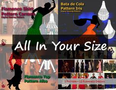 "Digital sewing patterns for flamenco dance costumes - ""All In Your Size"" for those sewing just for themselves or for that special flamenco dancer in their lives"