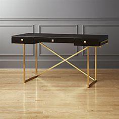 Modern secretary desk ikea writing desk desk shelf secretary home decor stores canada Modern Home Office Furniture, Modern Desk, Ikea Desk, Diy Desk, Plastic Chair Design, Unique Desks, Desk Shelves, Trendy Home, Black Desk