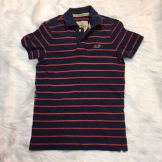 Hollister Men's Small Polo Soft Cotton 100% Short Sleeve Striped Blue Red  | eBay