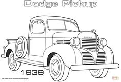 Truck Coloring Pages, Free Coloring Sheets, Coloring Pages For Boys, Free Printable Coloring Pages, Coloring Book Pages, Antique Trucks, Antique Cars, Vintage Cars, Foto Art