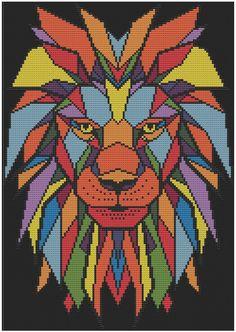 Geometric Lion - Counted Cross Stitch Pattern (X-Stitch PDF) Geometric Lion Counted Cross Stitch Pattern X-Stitch PDF Cross Stitch Needles, Cross Stitch Fabric, Counted Cross Stitch Patterns, Cross Stitching, Cross Stitch Embroidery, Dmc Embroidery Floss, Embroidery Patterns, Hand Embroidery, Modele Pixel Art