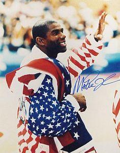 7ce69127d Magic Johnson Signed 16X20 Photo - Close Up Olympic Flag Olympic Flag