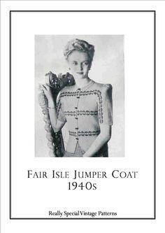 Fair Isle Jumper Coat  Sweater  Cardigan 1940s от PamoolahVintage, $4.00