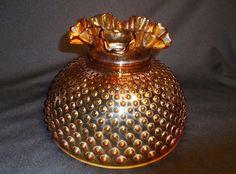 "10"" Vtg Fenton Hobnail Amber Glass Hurricane GWTW Ruffle Globe Shade"