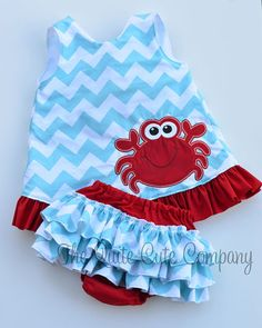 Girls CustomChevron Ruffle Swing Back Top with Crab Applique and Ruffle Butt Bloomers on Etsy, $45.00