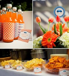 Orange soda.  I really like the Orange, blue, and white in this party.
