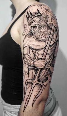 Poseidon Tattoo, Zeus Tattoo, Tattoo Bein, Sword Tattoo, Kraken Tattoo, Trident Tattoo, Girl Neck Tattoos, God Tattoos, Large Tattoos
