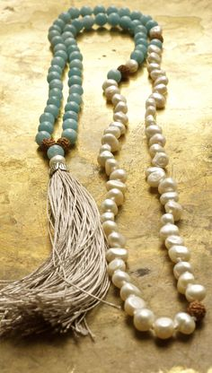 Jewelry Making Beads Aquamarine and pearl mala beads with rudraksha and a genuine pure silk tassel at Pillow Book Design Tassel Jewelry, Pearl Jewelry, Tassel Necklace, Beaded Jewelry, Handmade Jewelry, Jewelry Necklaces, Silver Jewelry, Bracelets, Silver Ring