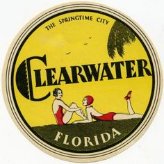 Clearwater Florida Beautiful Old Art Deco Luggage Label C 1935 | eBay