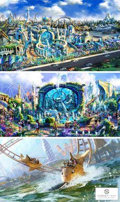Fantasy Art Landscapes, Fantasy Landscape, Futuristic City, Futuristic Architecture, Places To Travel, Places To Visit, Planet Coaster, Historia Universal, Abandoned Cities