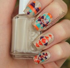Beige, Orange and Blue - Inspirational Fall Nail Designs