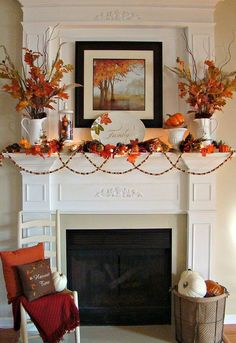 fall mantle decor Just thought I'd share a few pics of our 2012 Fall mantel. I added lots of pops of vibrant orange, along with the other traditional Fall embellishments. Decoration Christmas, Fall Mantel Decorations, Thanksgiving Decorations, Seasonal Decor, Mantel Ideas, Thanksgiving Mantle, Thanksgiving Ideas, September Decorations, Outside Fall Decorations