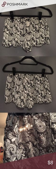 Black paisley sleep shorts- FREE WITH BUNDLE Forever 21 black paisley, see-through sleep shorts. Size medium. Stretchy waistline and ruffled hem on the bottom. These shorts are adorable, have never been worn and are in perfect condition! XXI Lingerie Shorts