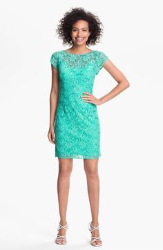 A customer fave! Hailey by Adrianna Papell Embellished Lace Sheath Dress available at #Nordstrom