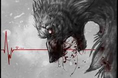 Demonic Red Lined Wolf
