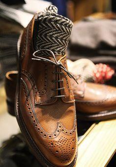Caramel Leather Brogue. Men's Fall Winter Fashion.