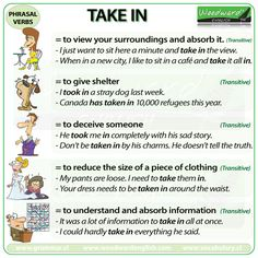 TAKE IN - English Phrasal Verb with meanings and example sentences.