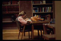 Student studying in Fondren Library, 1981