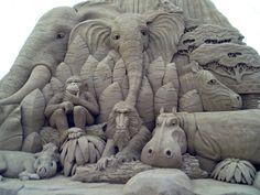 African animals sand sculpture
