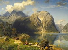 Google+ View of the Koenigssee, figural . Signed and dated lower left: A. Leu, 1869. Oil on canvas. 84 × 116 cm. - Painting by August Wilhelm Leu (1819 - 1897)